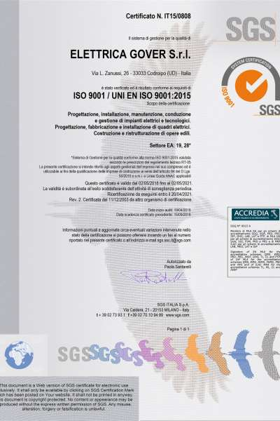 elettrica gover ISO 9001